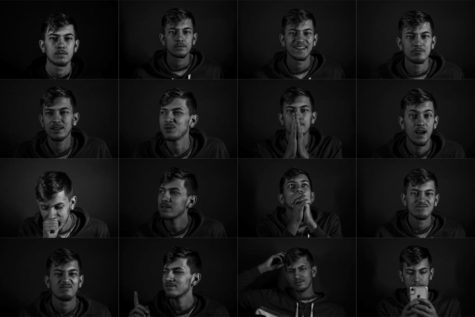 This is a series of 16 photos shot in black and white to capture the emotions of a person. I felt that josh holds a lot of emotions in and I was able to bring some of those out from just talking to him. It showed me how little just talking someone can change their mood. The best part about my school is that talking to anyone can change your mood from good to bad in seconds. Sam Horsfall/Fairhaven High School