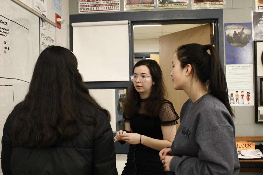 Dina Zeldin of The Lion's Roar at Newton South discusses stories for the paper's February issue. Zeldin was named the Massachusetts High School Journalist of the Year Tuesday. Photo by Dorothy Dolan.